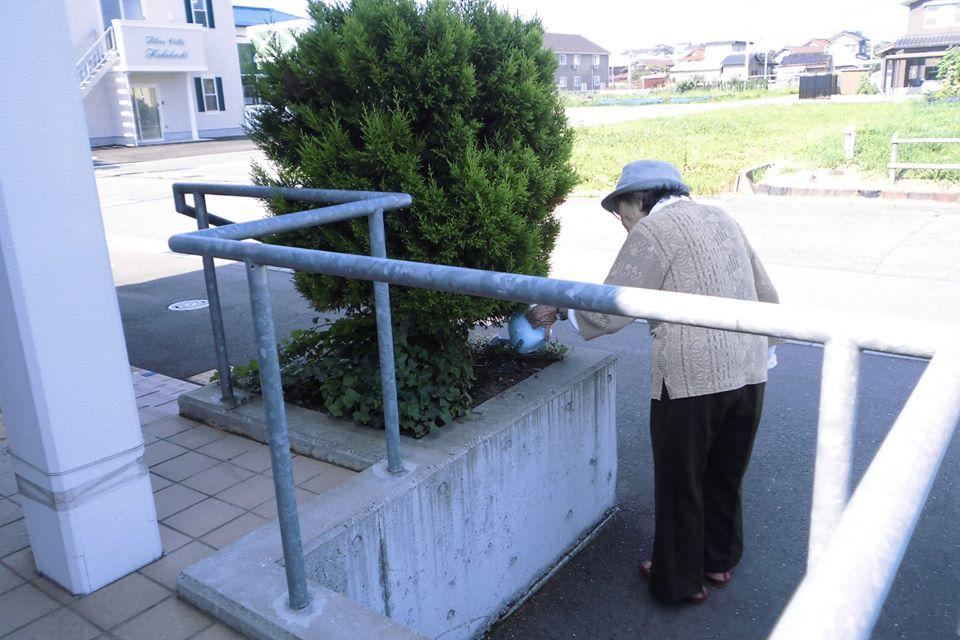 花も熱中症にならないように水分補給(^o^)